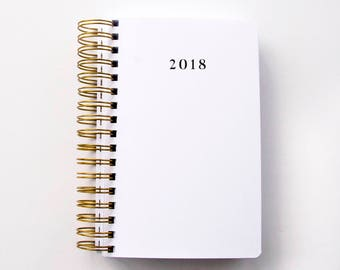 2018 Journal For Her Stylish Desk, Very Simple Understated Diary Design In Black White And Gold, Notebook For Lady Who Loves Accessories