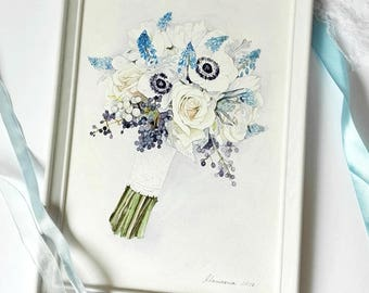 Briddal Bouquet Painting ORIGINAL Watercolor paintingCustom Wedding Bouquet Painting Anniversary Gift Custom painting from photo