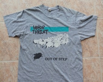 MINOR THREAT Out of Step t-shirt grey top dye Vtg Straight Edge Punk Hard Core Youth Of Today Gorilla Biscuits Judge Battery Washington Dc