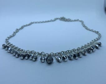 Sterling Silver Grey Swarovski Crystal Necklace