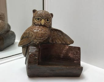 Vintage Ceramic Owl Business Card Holder or Name Plate