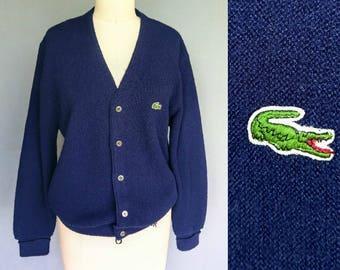 later alligator / 1960s izod lacoste navy blue cardigan sweater / large