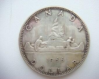 Silver coin 1 dollar 1966 Canada
