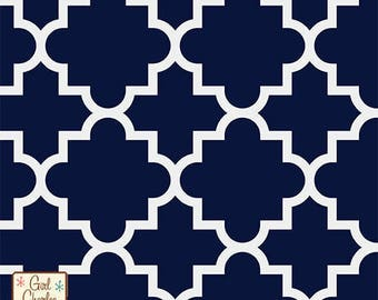 """Fabric Remnant - Quatrefoil Oxford Blue - Girl Charlee Jersey Knit Collection - 8""""x56"""""""