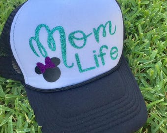 Mom Life Trucker Hat | Disney Hat |  Disney Mom Hat | Trucker Hat | Glitter Disney Hat |  Disney Cruise Hat | Disney Vacation Hat