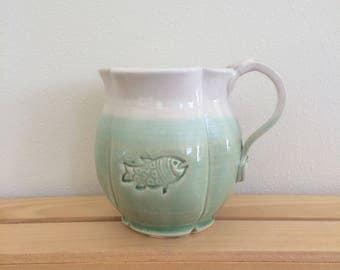 Ceramic Mug,Handmade Pottery, Fish Mug, 20 oz, Ready to Ship