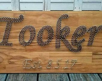 Custom nail string art last name sign (Price varies by last name. It's 5 dollars per letter. 5 dollars for established date)