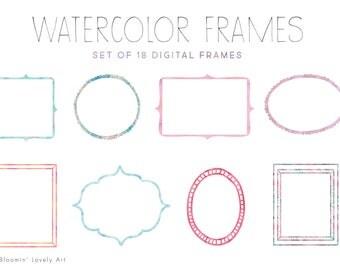 Digital Watercolor Frames - Frame Clip Art - Watercolor Clip Art Frames - Doodle Frames