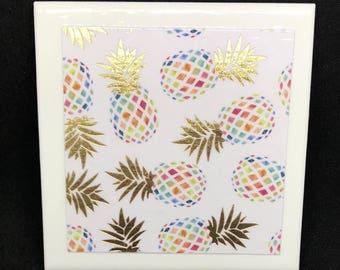Tropical Pineapple Coasters (Set of 4)