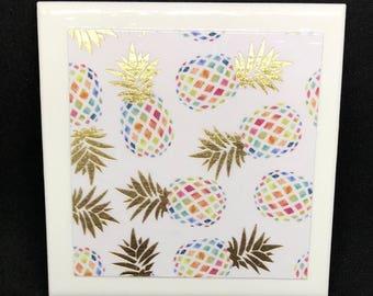 Tropical Pineapple Coasters (Set of 4)
