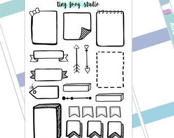 hand drawn banners, flags and boxes decorative stickers for planners and bullet journals