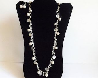 Handmade necklace and earrings set - genuine freshwater pearls, mother of pearl