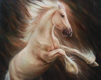 Freedom horse, Original oil, Oil animals, White horse