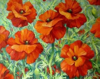 Original oil painting, Poppies painting, Original poppies, Red poppies painting, Valery Limonov painting, Flowers painting, Poppies art