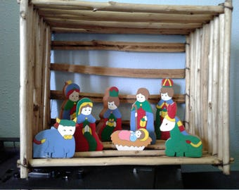 Rustic Nativity Scene,  manger with painted wooden block stationary figures