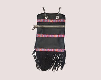 Ibiza beltbag/festival bag/riemtas with fringes, jeans, leather belt bag fanny pack, festival belt, belly bag