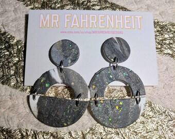 Demi-Donut polymer clay dangle earrings