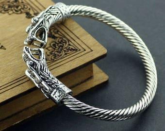 Viking Dragon Bracelet - Silver Dragon Bracelet - Dragon Head Bracelet