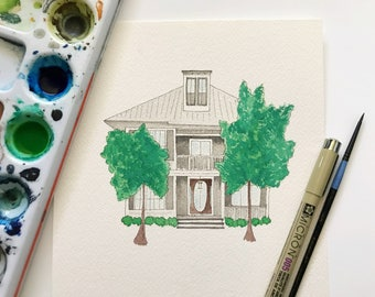 Watercolor House Painting