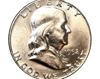 1952 D Franklin Half Dollar - Gem BU / MS / UNC / Brilliant Uncirculated