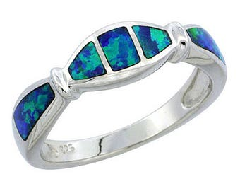 Sterling Silver Blue Opal Statement Ring