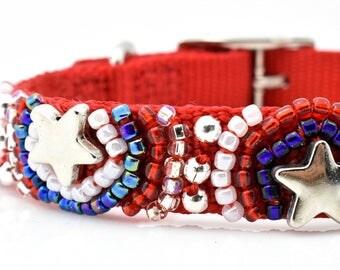Stars and Stripes Dog Collar, Patriotic Dog Collar, American Pet Collar, Fourth Of July Dog Collar, Independence Day Dog Collar, USA Collar