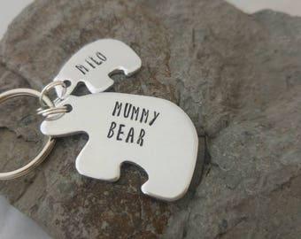 Mummy Bear personalised keyring. Hand stamped keyring, mama bear, baby bear, mothers day present