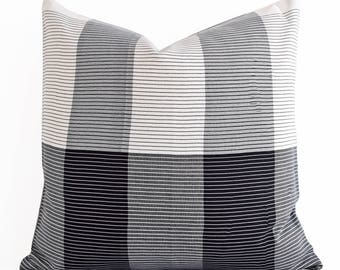 SALE! 20x20 Handwoven Silk Ikat Pillow, Black Pillow Cover Black Throw Pillow Cover Black Ikat Pillow Cover Black and White Pillow