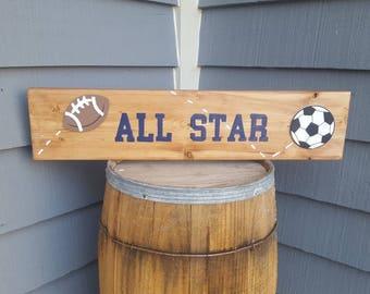 Sports Decor, All Star Decor, Soccer, Football, Basketball, Baseball, Sports Room, Wall Accents, Baby Room Decor, Kid's Room Decor, Athlete