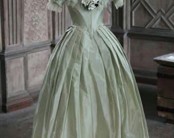 Custom Made Jane Eyre green taffeta ruffled lace Victorian Ball Gown