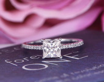 6mm Princess Cut Moissanite Engagement ring/Diamond in 14k white gold/Stackable ring/Bridal wedding ring/Anniversary ring/Half Eternity/Pave