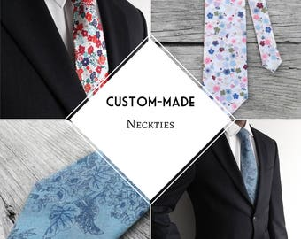 Custom-made necktie, Fall/Winter Collection, choose your color/design, made-to-order, hard-to-find sizes