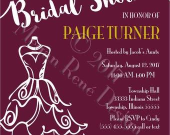 Burgundy Bridal Shower Invite
