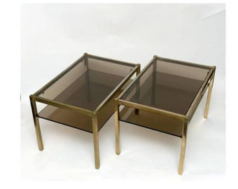 Pair of vintage brass and smoked glass side tables or coffee tables - mid century brass side tables - pair of french regency side tables