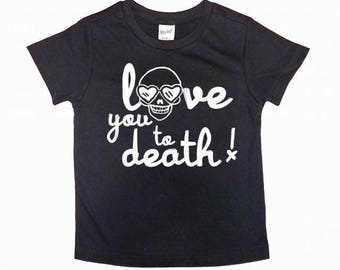 I love you to death skull heart eyes  black Band Tee shirt cool baby boy clothes toddler fashion trendy edgy punk rock and roll fall outfit