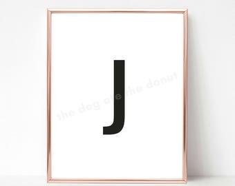 Letter J printable, Printable letters, Letter J Art, Letter J wall decor, Printable letter art, Nursery letters, Printable letter J poster