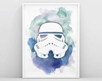 Stormtrooper Wall Art, Storm trooper Star Wars Poster, Watercolor Star Wars Print, Printable Stormtrooper, Star Wars Art, Nursery Print