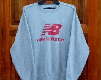 new balance jumper. new balance sweatshirt pullover jumper crew neck spellout nice design grey colour large new balance