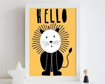 Lion nursery print