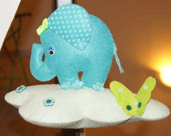 Small felt elephant and cloud mobile