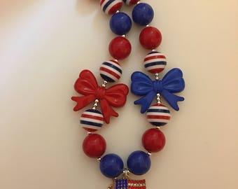SALE Patriotic bubblegum necklace