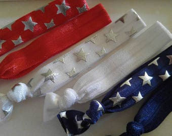 Patriotic | Red, white and blue | Independence Day | Hair ties
