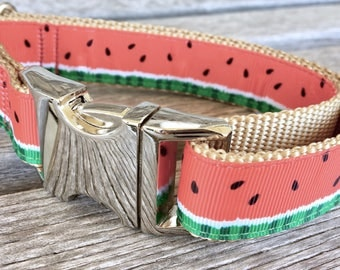 "Watermelon 1"" Dog Collar, Summer Dog Collar, Watermelon Dog Leash, Dog Collar, Dog Leash"