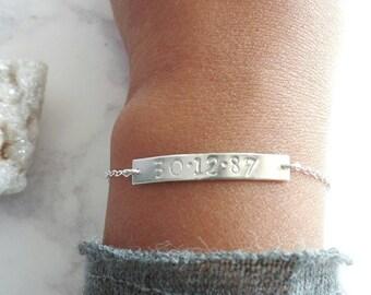 Custom Date Bracelet - Personalised Bar Bracelet -  Sterling Silver - Wedding Date - Birth Date - Dainty Bracelet - Gift for Her - Rose Gold