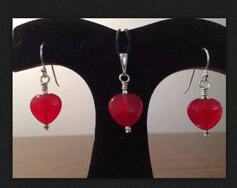 Valentine's Day Heart Jewelry Set-Quartz and Sterling Silver Earrings + Pendant