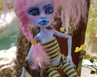OOAK Abby Bominable Monster High Repaint / Rehair with Custom Striped Legging Outfit and Handpainted Shoes