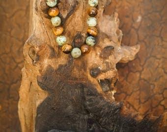 African Turquoise Jasper/Tigers Eye Natural Gemstone 8mm Bracelet