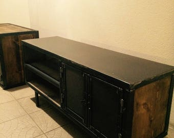 Industrial Tv Cabinet wood and steel