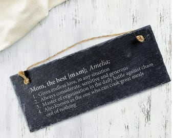 Engraved Slate Plaque - Definition of the Best Mum and the Best Dad - Hanging Door Sign - Gift for Mothers and Fathers - Christmas Gift