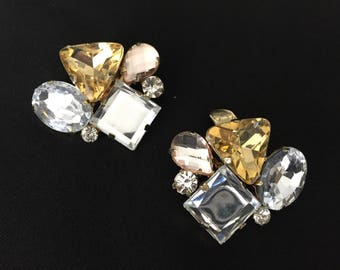 Abstract Shaped Jewels in clear and yellow/gold Shoe Clips